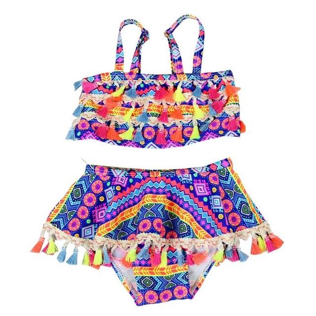 3129acfda210d Swimwear Girls Bikini Summer Children Swimwear Swimsuit for Girls Tankini Swimsuit  Kids Bohemia Bikini Plus Size Swimwear Girl