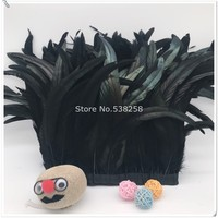 New black 2m/lot 12 14inches 30 35cm height Coque Tail Fringes Rooster feather trim rooster tail trimming ribbon