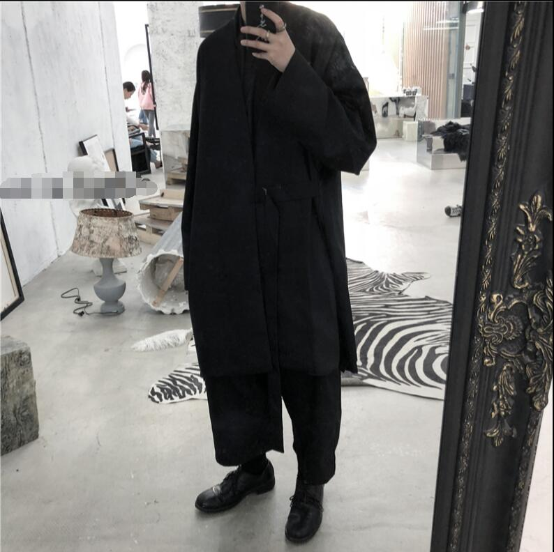 Make your own man's long and dark belted trench coat.    M-6XL!!