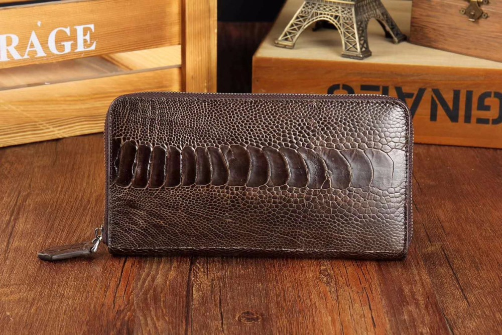 100% genuine ostrich leg skin leather wallets purse bank card holder black and brown color long zipper closure