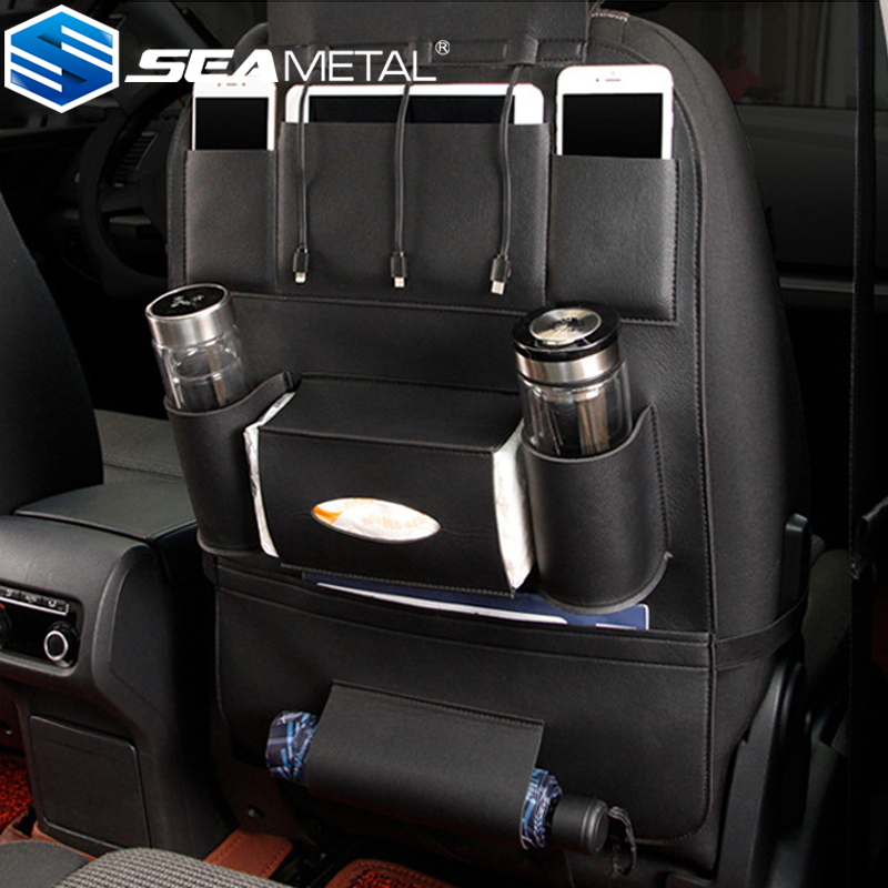 2017 Car Seat Back Organizer Bag Storage Creative 3 Types <font><b>USB</b></font> <font><b>Charger</b></font> Black Back Seat Protector Bag Holder Car <font><b>Auto</b></font> Accessories