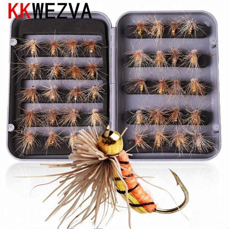 KKWEZVA 40pcs Fishing fly Lure with box Butter Insects Style Salmon Flies Trout Single Dry Fly Lures Tackle