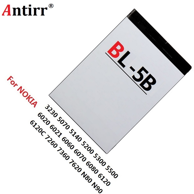 2PCS BL-5B Battery BL 5B BL5B Replacement Mobile Cell Phone Batteries For Nokia N80 N83 6120 6021 5300 5208 5140 6020 Bateira(China)