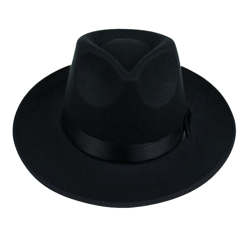 8322400ae6b0d Aliexpress.com   Buy FS Unisex Black Gray Brown Wool Wide Brim Felt Fedora  Hat For Men Godfather Jazz Cap Women Autumn Winter Trilby Bowler Hats from  ...