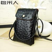 2016 New 6 Color Ostrich Halter Leather Wallet Pouch Cover Phone Case Shoulder Bag For Iphone