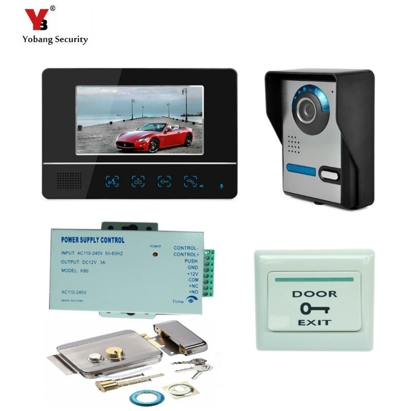 Yobang Security Freeship 7 LCD monitor Speakerphone intercom Color Video Door Phone doorbell access Control System doorphone freeship 10 door intercom security system hands free monitor color tft lcd screen intercom system video door phone for villa