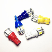 T10 LED car led Lights W5W Bulb 5SMD LED 5050 194 168 bulbs LampsSuper Bright wedge Lights White Blue Red Yellow Green ray 12V(China)