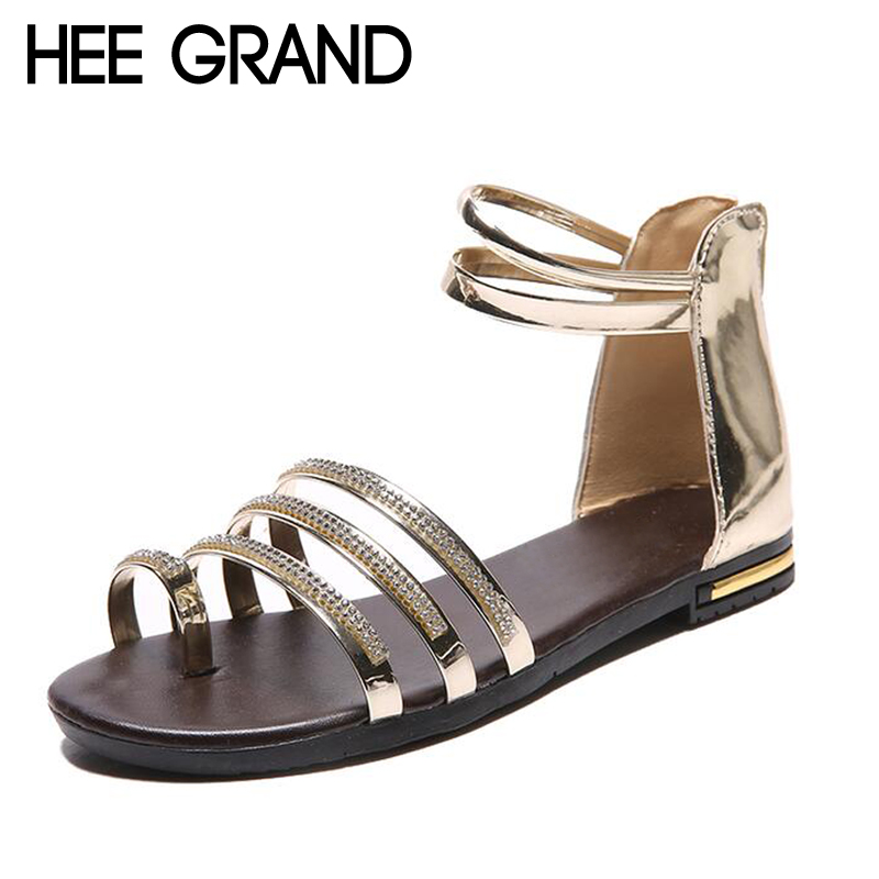 HEE GRAND Women Sandals Crystal Bling Gladiator Flip Flops Summer Casual Shoes For Woman XWZ3742 hee grand 2017 new gladiator sandals gold silver shoes woman summer flip flops slip on creepers casual women shoes xwz3847