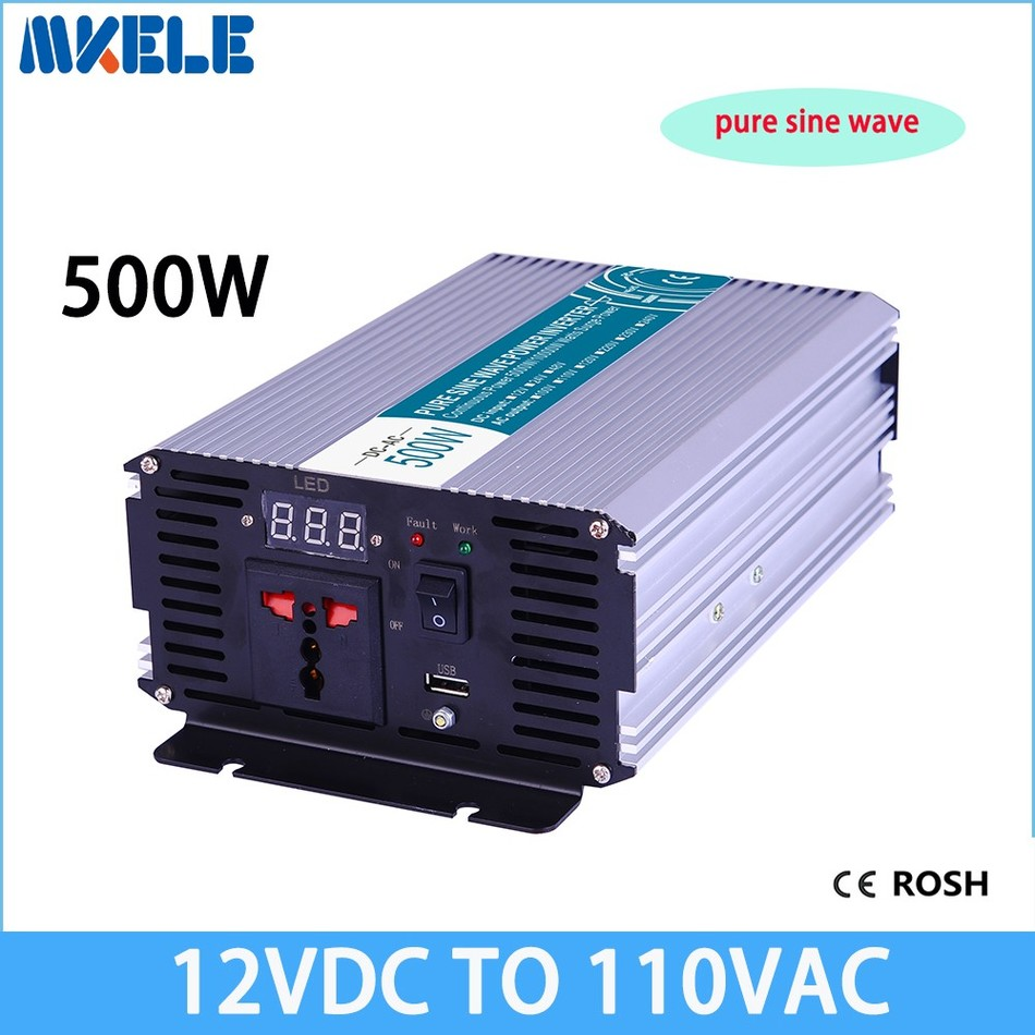 12vdc to 110vac 500W pure sine wave power inverter off grid voltage converter solar inverter inversor MKP500-121 mkp1200 241 1200w pure sine wave power inverter 24vdc to 110vac off grid voltage converter solar inverter