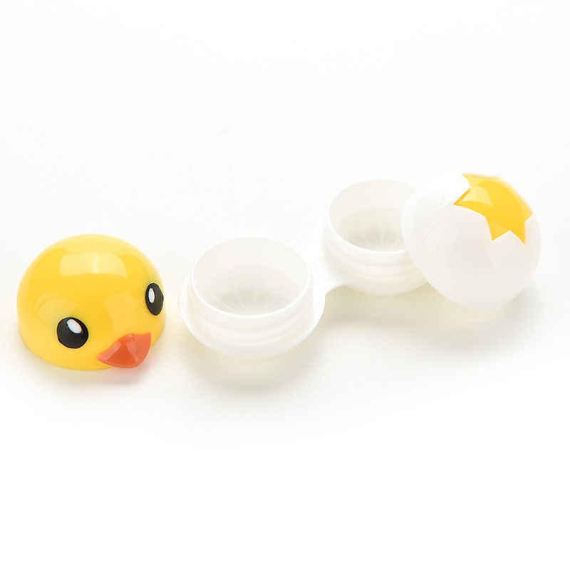 Mini kontakt futerał na okulary Box zestaw podróżny Mini akcesoria do okularów Cartoon projekt kaczki pojemnik na soczewki kontaktowe pojemnik do przechowywania pojemnik