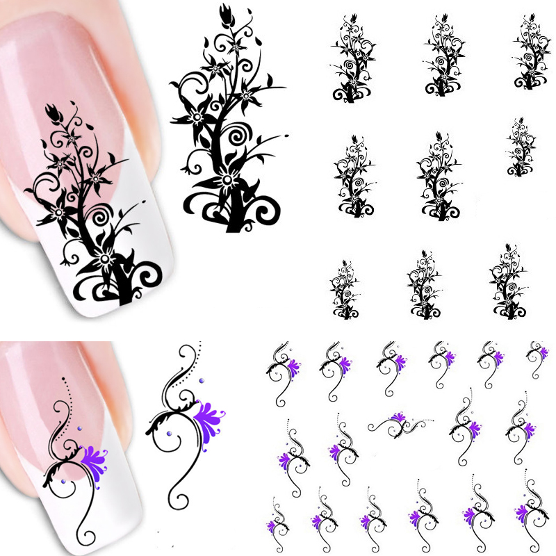 1 PC Fashion Design For Nails Manicure Stickers Nail DIY Art Use Stencils Water Decals Sticker 2JT8 In From Beauty
