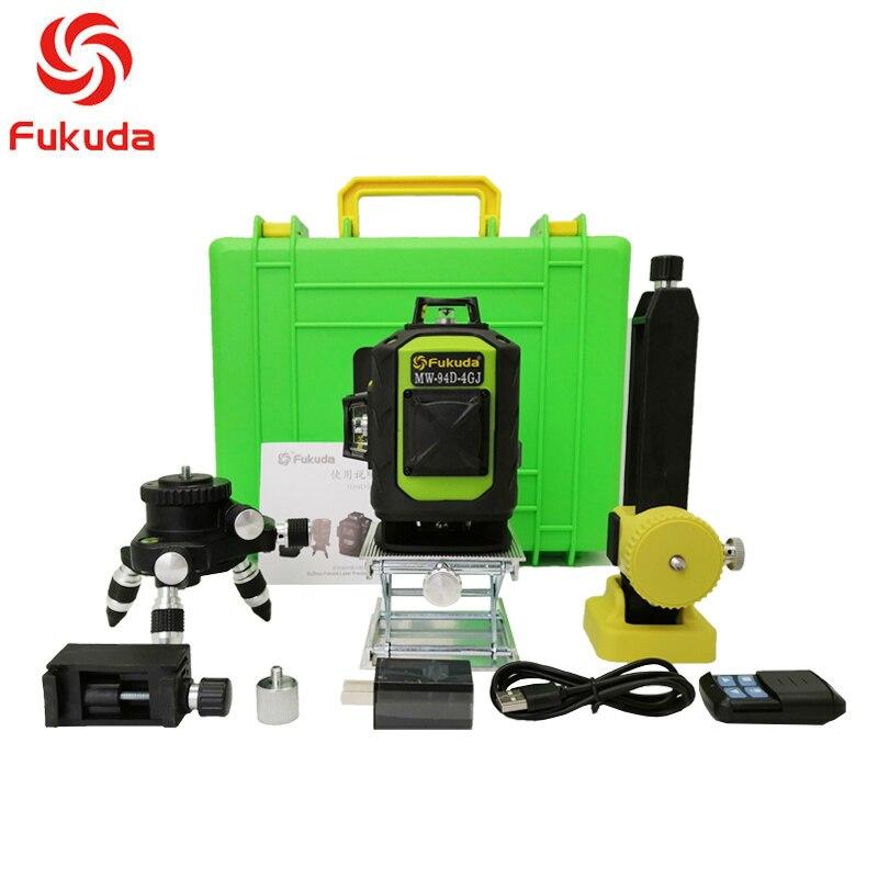 Fukuda nível laser de linha 4D 16 360 Vertical E Horizontal Nível de Auto-nivelamento A Laser Linha Cruzada 4D Laser Verde nível com ao ar livre
