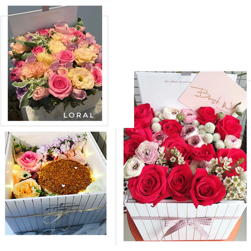 One Set Square Flower Packaging Box Folding High Grand Striped Wedding Flower Bouquet Package Gift Box 24 24 15cm Cardboard Cardboard Squares Cardboard Packagecardboard Box Gift Aliexpress