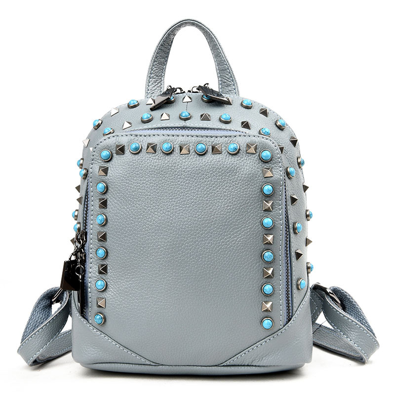 2017 Genuine Leather Women Backpack Diamonds Rivet Shoulder Bags For Teenage Girls School Bag mochila Laides Women Bag S064 new 2018 women backpack leather rivet bag ladies shoulder bags girls school book bag black backpacks mochila bagpack 3 pcs sets