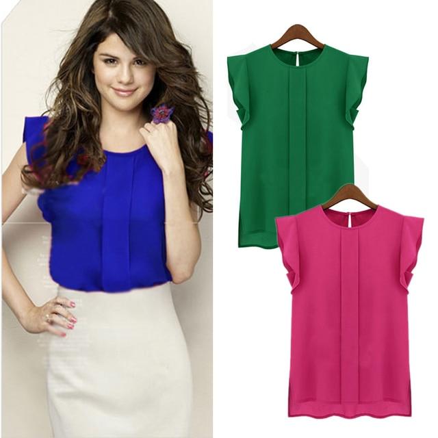 6743ddb2eed 2015 элегантная женская блузка с коротким рукавом шифоновая рубашка с  рюшами Повседневный Топ Блузка пуловер Топы
