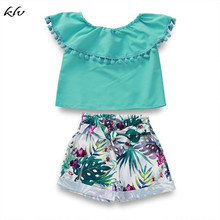 2PCS Summer Toddler Baby Girls Off Shoulder Green Collar Tops+Shorts Floral Pants Outfits Cute Clothes