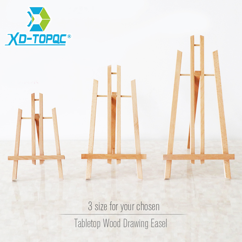 XINDI Pine Wood Easel 3 Sizes Tabletop Drawing Artist Wooden Fold Standing Easels Painting Whiteboard Chalk Board Easels WE05