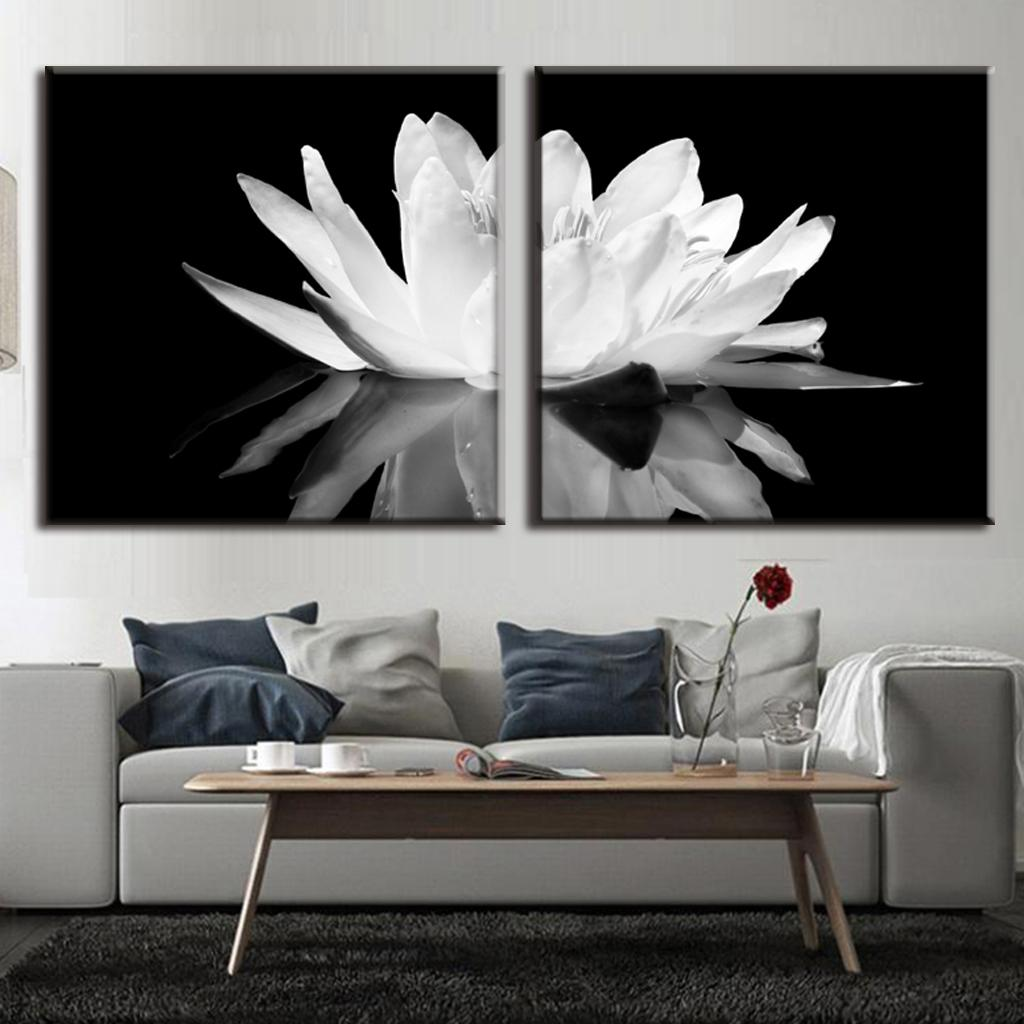 2 pcs set modern wall paintings white lotus in black for White canvas to paint