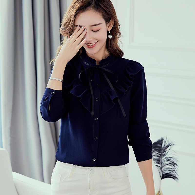 ฤดูใบไม้ผลิฤดูใบไม้ร่วง 2019 ผู้หญิงเสื้อสีขาวเสื้อแขนยาวเกาหลี Ruffles ผู้หญิง Streetwear Slim ชีฟองเสื้อสุภาพสตรี Tops