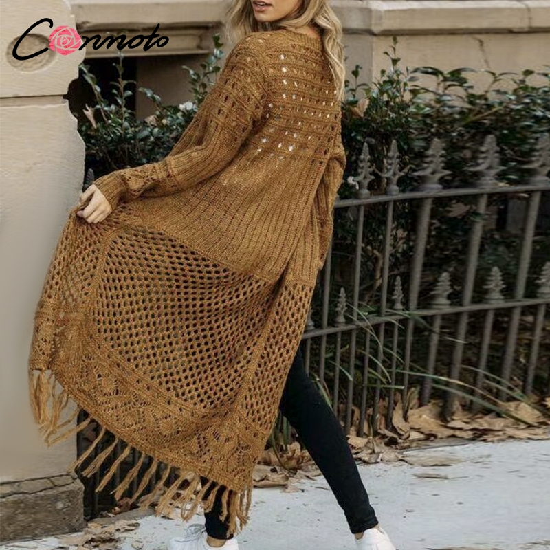 Conmoto Chic Long Tassel Knitwear Cardigans Casual Hollow Out Women Sweater Cardigan Solid Winter Knitted Cardigan