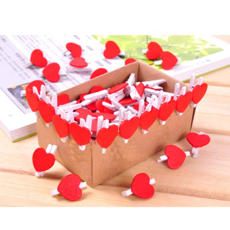 20 Pcs Colored Mini Love Heart Wooden clip Craft Memo Clips Office Supplies 2018 new