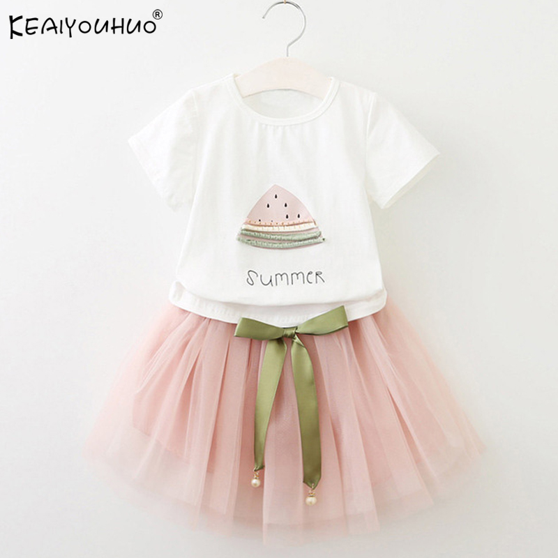 KEAIYOUHUO Girls Clothes Summer Tracksuit For Girls Sport Suit Children Clothing Sets Vest Lace T-shirt+ Skirt Costume For Kids summer kids clothes suit for girls 3 13 years children army green cotton shirt clothing set boys girls clothing sport suit 174b