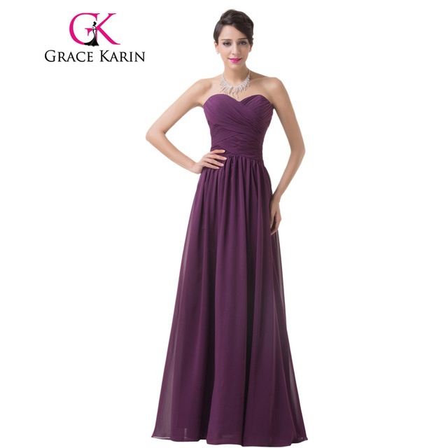 Grace Karin Real Photo Bridesmaid Dress Strapless Sweetheart Chiffon Long Ruched Bodice Purple Special Occasion