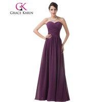 Grace karin real photo bruidsmeisje jurk strapless sweetheart chiffon lange ruches lijfje paars speciale gelegenheid bruidsmeisje jurk