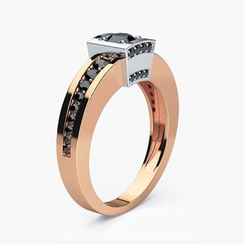 Modyle Rose Gold Color Wedding Ring for Man Woman Black CZ Stone Man Punk Jewelry Dropshipping