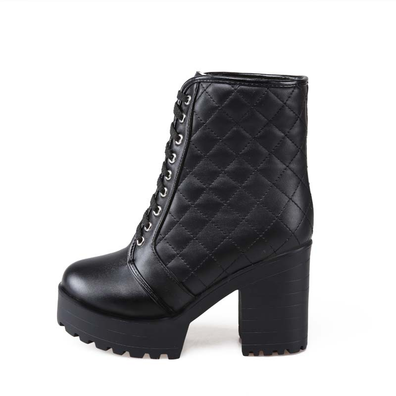 Big Size 34 43 Black White Lace Up Boots PU Leather Ankle Square heel Boots Round Toe Boots for Women Fashion Boots in Ankle Boots from Shoes
