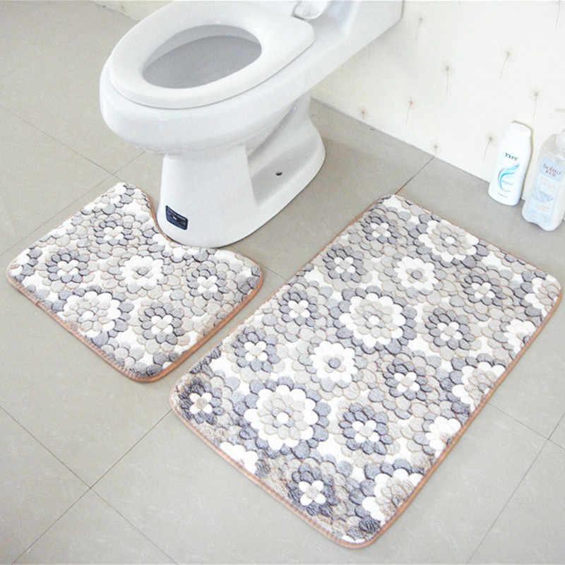 Zeegle 2 ピースセット浴室の床マット洗濯機フラワーバスマットトイレのドアマット屋外シャワールーム家の装飾バスマット