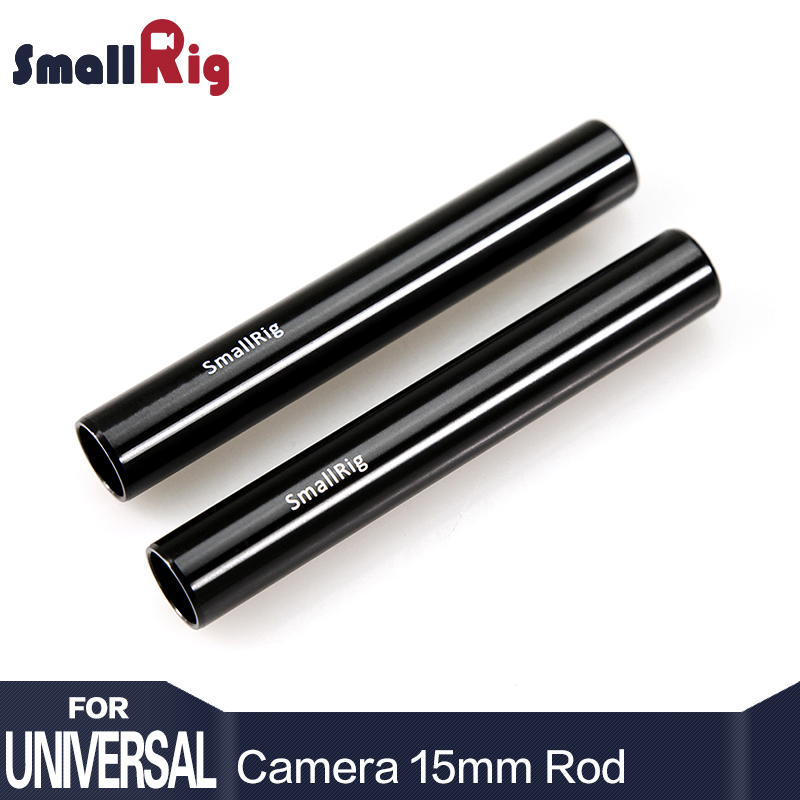 SmallRig Preto Liga de Alumínio Haste de 15mm Câmera Rail Rod-10 cm 4 Polegada (Embalagem Par) para o Monitor EVF Montar Anexar-1049