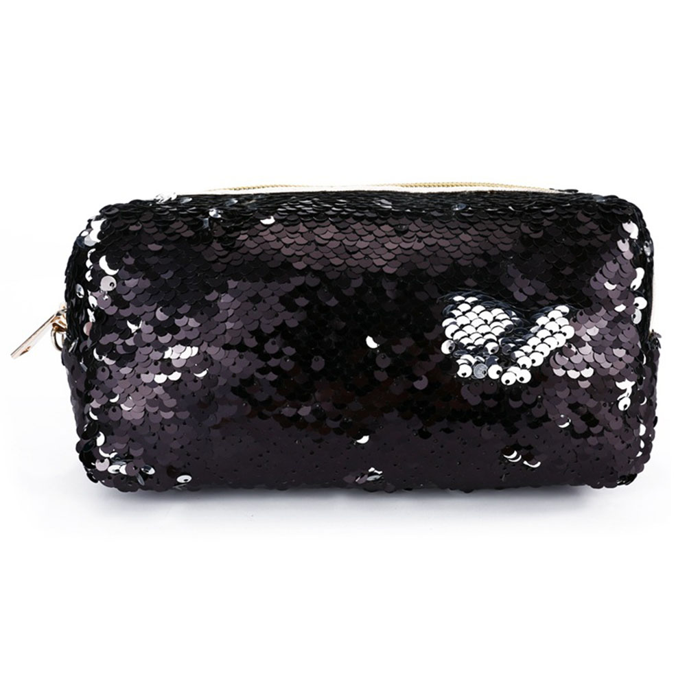 Women Multifunctional Storage Makeup Bag Student Portable Pencil Case Cosmetics Case Hand-held Phone Sequins Zipper Coin Pouch