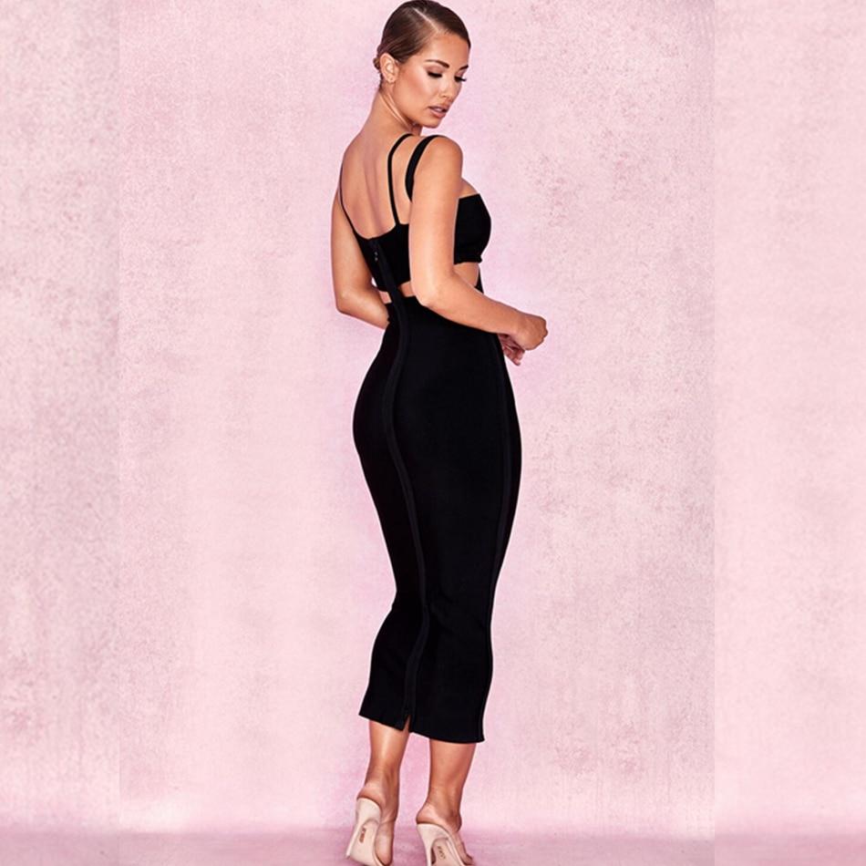 Élégant 2018 Robes Nu Clubwear Gros Dos Noir Femmes Robe En Gaine De Cou Solide V Moulante Mi Sexy Bandage Courroie mollet x481wz
