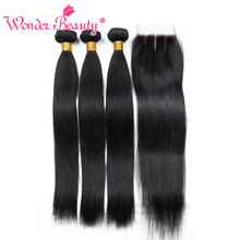 Wonder Beauty non remy Peruukai tiesūs plaukai su uždarymo plauku priauginimu 3 paketai su nėrinių uždarymu plaukai maišomi 8-28 colių