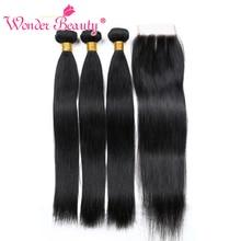Wonder Beauty niet remy Peruviaans steil haar met sluiting haarverlenging 3 bundels met vetersluiting haarstukjes gemixt 8-28inch