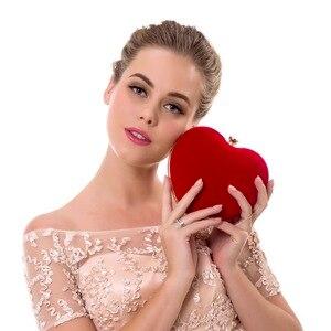 Image 2 - SEKUSA Velluto acrilico diamanti a forma di cuore rosso/nero borse da sera mini borsa della frizione con la catena della spalla del sacchetto di sera per da sposa
