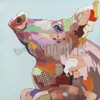 Абстрактные красочные картины Мечтая свинья картина маслом на холсте для Wall Art