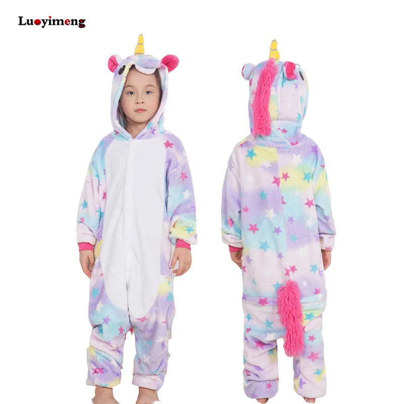 все цены на Boys Girls Flannel Star Unicorn Pajamas Kigurumi Overalls Jumpsuit Kids Children Giraffe Panda Cosplay Costume Blanket Sleepers