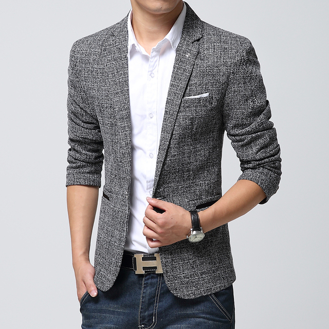 91fea2f193 2016 new arrival blazer men, casual mens linen suits jacket men, Long  sleeve slim