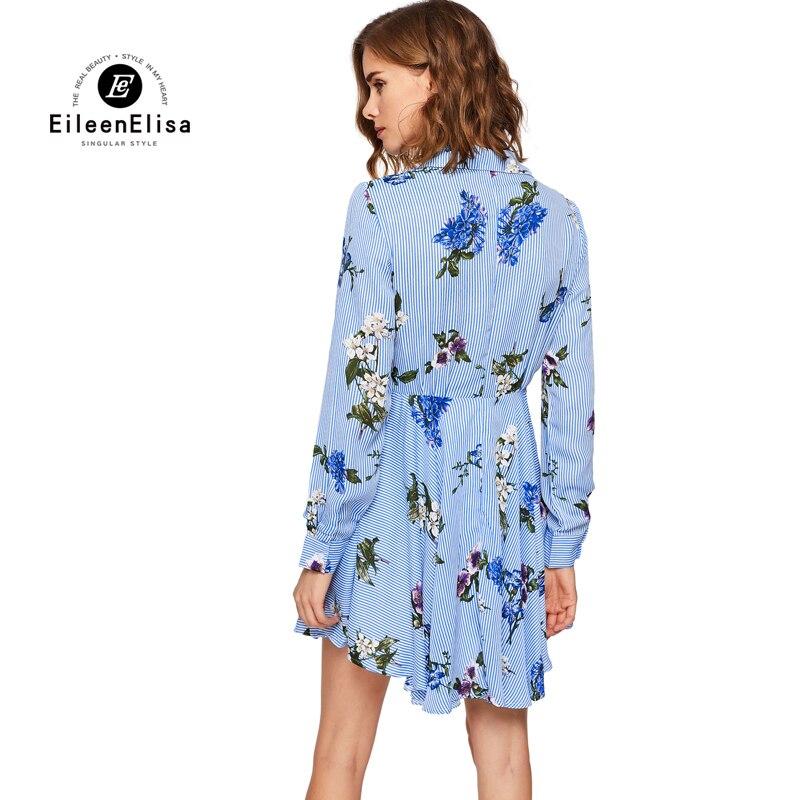 ef3d7c37cd 2017 Verão Mulheres Casual Vestido de Verão Flores Impresso Azul E Branco  Vestido Listrado em Vestidos de Roupas das mulheres no AliExpress.com