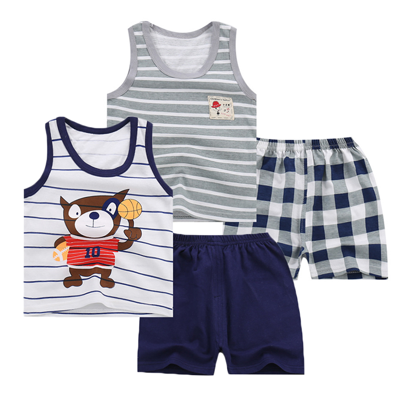 12M-5T Baby Boys Clothes Two Piece Set Vest Suits Boys Tracksuit 2018 Summer Boys Clothing Sets Toddler Kids Clothes for Boys boys