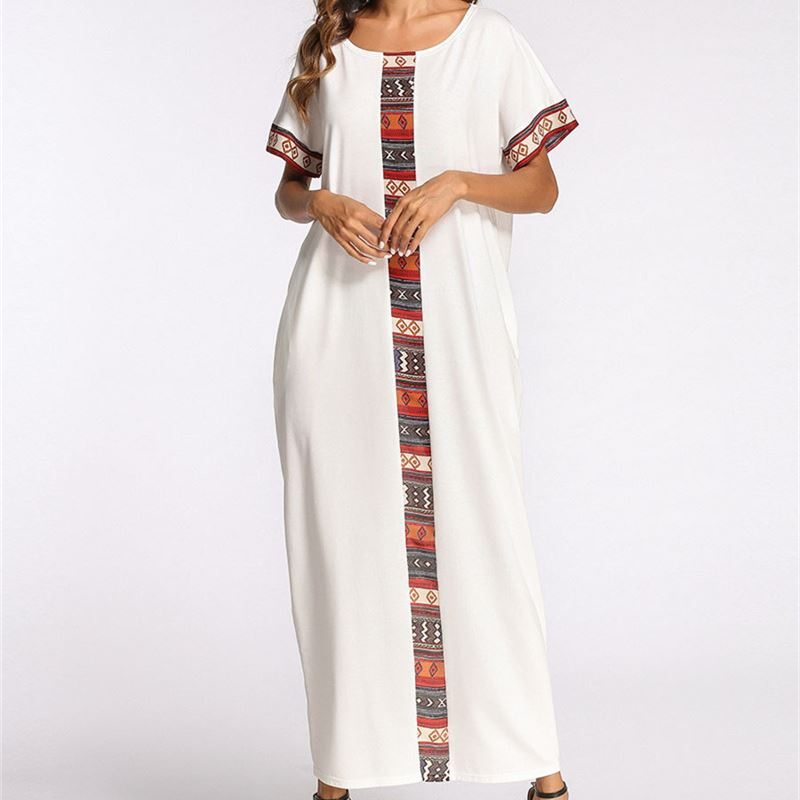 White Patchwork Summer Maxi Dress O Neck Short Sleeve Caftan Long Robe  Gowns Indonesia Turkish Moroccan Kaftan Beach Tunic D479-in Dresses from  Women s ... 97457a183