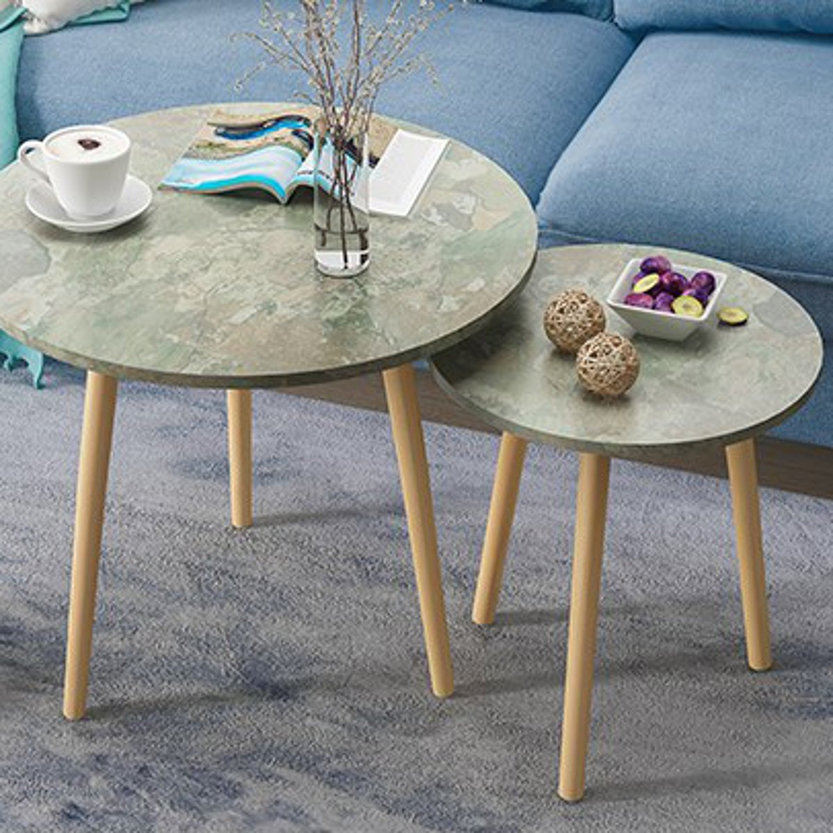 Fashion Coffee Tables Simple Mini Nordic Convenient Sofa Modern Circular Practical Natural Tea Tables Living Room Decoration