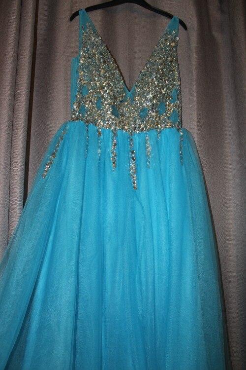 Сексуальное вечернее платье с v-образным вырезом, с бусинами, с открытой спиной, а-силуэт, Длинные вечерние платья, вечерние платья с высоким разрезом, фатиновые платья для выпускного вечера - Цвет: Небесно-голубой
