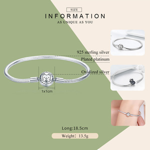 Image 2 - Bracelete de prata refinada 100% bamoer, joia com fecho redondo de leão, fio de cobra, joia feminina de prata esterlina 925 scb054