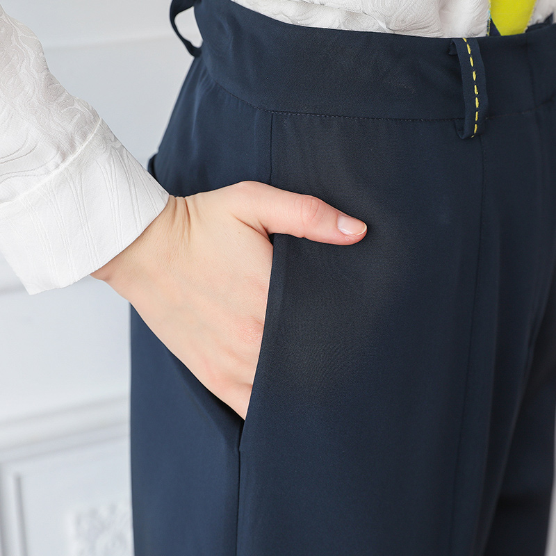 Mi Automne Bleu Voa Lourde Pantalon Femmes Soie Marine K691 Pantolon Damskie Bureau Dames Taille Harem Spodnie Neuf q7zvrq