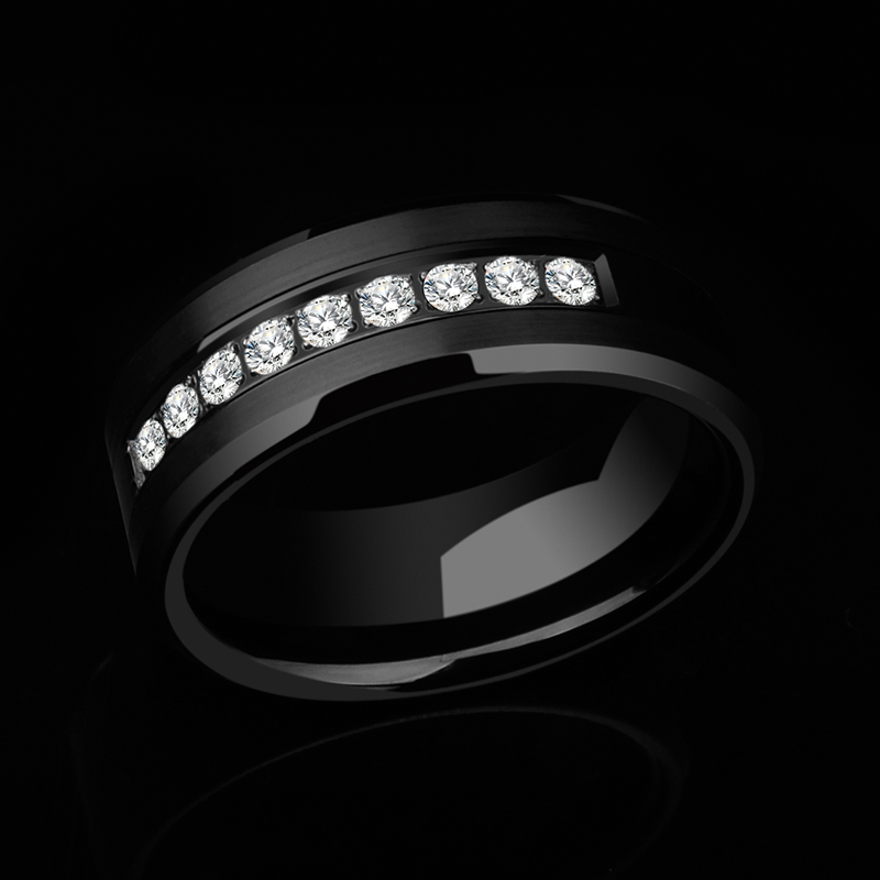 New Arrival Men's 8mm Tungsten Carbide Wedding Ring 9PCS CZ Inlay Black Brushed Finish Comfort Fit Wedding Band Size 7 to 11 black tungsten carbide with dark wood inlay mens wedding ring