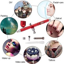 0.3 Nozzles Airbrush with 11Pcs Set Cleaning Spray Gun Accessories Cake Decorating Brushes for Manicure Air Brush Poratble