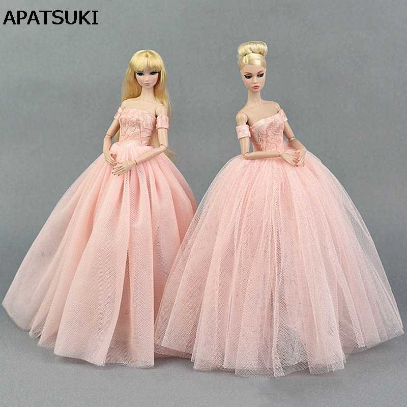Pink Wedding Dress for Barbie Doll Princess Evening Party Clothes Wears Long Dresses Doll Clothes for Barbie Dollhouse